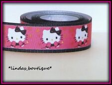 """1 YARD 7/8"""" HELLO KITTY WINTER MITTENS BOW CRAFT HAIRBOW GROSGRAIN RIBBON PINK"""