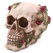 NEW SKULL RESIN WITH CREEPING ROSE VINES ORNAMENT GOTH GIFT SK123(A) PUCKATOR