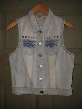 Miss Selfridge Topshop Waistcoat Studded Jean Denim Sleeveless Top Festival 12