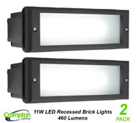 2 x 11W LED Brick Lights Black Recessed Wall Light Plain Face 225 x 125mm IP66