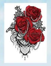 """US Seller- jewelry red rose lace large 8.25"""" half-sleeve temporary body tattoos"""