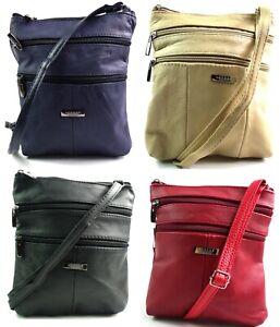 Lorenz Ladies Real Soft Leather Crossover Body Bag Shoulder Bag Handbag Purse