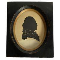 """George Washington Silhouette Portrait Picture 6"""" Wood Frame Vtg Antique"""