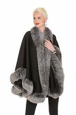 Frost Fox Fur Trimmed Cashmere Cape for Women Black - 30