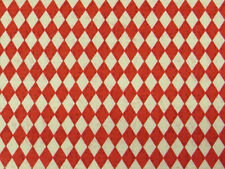 Red/Cream tiny DIAMONDS FABRIC cotton harlequin check kitsch quilting quilt 1m