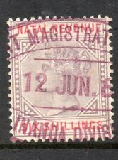 1885 South Africa Natal Bft:91 6/- Lilac & Red. Fine Used Revenue.