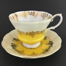 Royal Albert Pompadour Series Teacup And Saucer Yellow Gold Bone China England