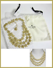 Kate Spade Marguerite Triple Row Statement Necklace Gold Tone O0Ru1710 Nwt