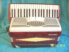 Silvio Franelli Red & White 120 bass Accordion From Italy accordian Lightly used