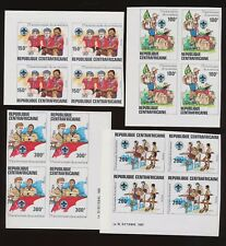 CENTRAL AFRICAN REPUBLIC, Scott 497-500 VFMNH imperf blocks - BOY SCOUTS 1982