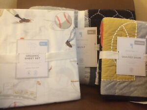 POTTERY BARN KIDS Field Day Twin Quilt & Sham Vint Baseball Sheets 5 pc Set NEW