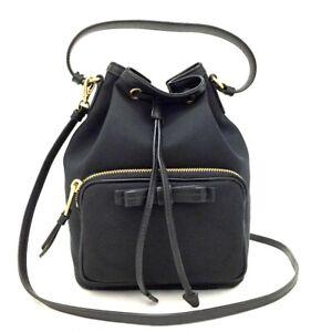 PRADA Logos Canvas Leather Drawstring Mini 2way Shoulder Bag /3735