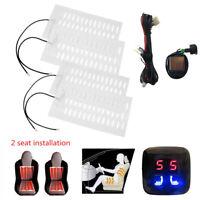 12V Carbon Fiber Car 2 Seats Heated Seat Pad Heater Kit w/5-Level Digital Switch