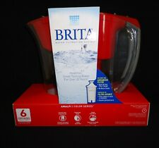 Brita Water Filtration Pitcher OB03 Red Gray Capacity 6 Cup (1 Pitcher 1 Filter)