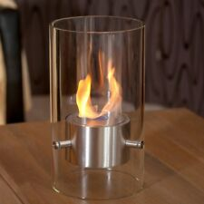 Rund Tischkamin aus Glas und Stahl, 40,5 cm hoch, leicht zu bewegen, nur 4kg