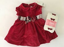 NWT Gymboree Holiday Pictures 0-3 Months Red Velvet Plaid Bow Dress & Tights