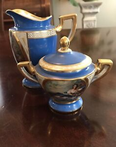 Antique 19th Century Royal Vienna Cream Pitcher And Sugar Set