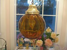 VINTAGE AMBER GLASS GLOBE HANGING SWAG LAMP LIGHT MID CENTURY HOLLYWOOD REG