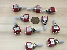 10 Sleeve White cap Momentary Mini Toggle Switch (ON)-OFF-(ON) 6 pin 1/4 A5