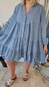 Dress Tunic Top Smock Buttons Elasticated Cuff Plus 14 16 18 20 22 Denim Blue