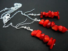 A PRETTY RED CORAL CHIPS  NECKLACE AND  EARRING SET. NEW.