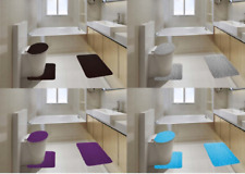 ROCK DESIGN BATHROOM 3PC SET BATH MAT RUGS LID COVER SOFT MEMORY FOAM NEW