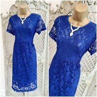 STUNNING 💋 Retro Style Royal Blue Floral Lace Fit & Flare Tea Dress ~ Free P&P