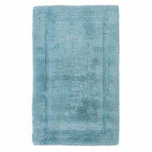 Bravich 50x80cm Modern Duck Egg Blue 100% Cotton Water Absorbent Rug Bath Mat