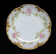 Vintage Haviland Limoges France Porcelain Butter Pat ~ Pink Roses w/ Gilt Trim