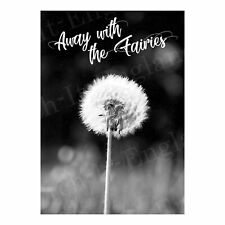 More details for away with the fairies metal sign garden flower weed monochrome wall art poster