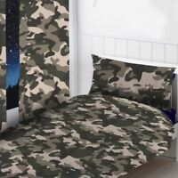 """GREY CAMOUFLAGE READYMADE CURTAINS 72"""" DROP KIDS BOYS BEDROOM"""