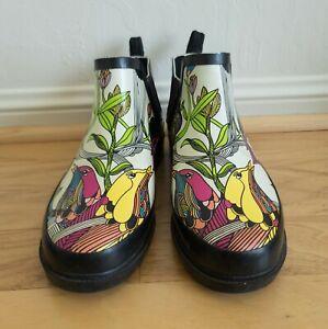 Sakroots Rhyme Rain Bootie Boots Art Floral Design Colorful Women's Size 10