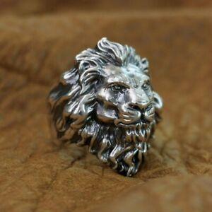 Huge 925 Sterling Silver King of Lion Ring Mens Biker Punk Ring TA128A US 12