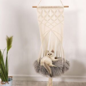 New Cat Pet Kitty Hammock Hanging Mat Bed Cave Kennel House Basket Swing Woven