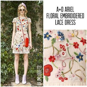 Alice + Olivia Ariel Floral Embroidered Lace Cap Sleeve Dress $995 Sz 0 XS