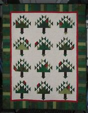 "Pine Tree Quilt~New~Lap/Twin~54""x68""~Assorted Greens with White & Red"