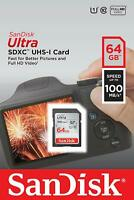 SanDisk® Ultra 64GB SDXC™ UHS-I SD Card Speed up to 100MB/s New Genuine