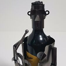 Guitar Playing Wine Bottle Holder Caddy Metal Musician Player