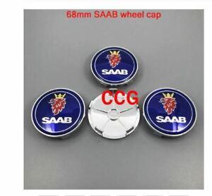 4pcs SAAB logo car front hood bonnet emblem 68mm wheel cap