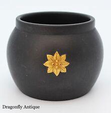 Wedgwood Black Basalt Toothpick Match Holder Gold Gilt Flower SUPERB Vintage