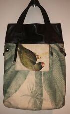 Anthropologie Jasper & Jeera Tropical Canvas Parrot Print Leather Topped Tote