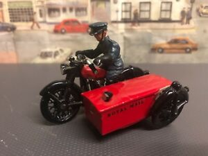 White Metal Post Office Motorcycle  and side car combination  with rider