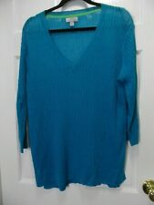 Vintage Jcp Linen Blend Lightweight Stylish Bluish Color Sweater Size X Large