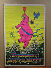 vintage 1971 Everybody Loves a Hippy hippo blacklight poster 9312