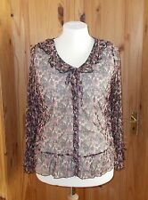 M&S brown beige dusky pink-purple stretch chiffon gypsy boho blouse tunic top 16