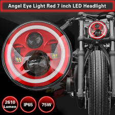 7'' LED Hi-Lo Beam Headlight Round Halo Angle Eyes Red For Harley Wrangler JEEP
