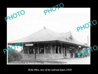 OLD LARGE HISTORIC PHOTO OF DELTA OHIO, THE RAILROAD DEPOT STATION c1920