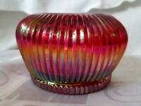 Fenton Ruby Cranberry Ribbed Glass Bowl Votive Candle Holder Carnival Glass