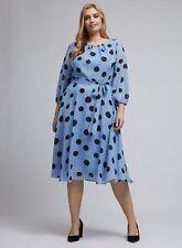 Dorothy Perkins Womens Billie & Blossom Curve Blue Chiffon Spot Print Midi Dress