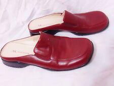 """Anne Klein Womens Mules Slides Sz 9 M Dark Red Leather Upper 1.25"""" Heel Comfort"""